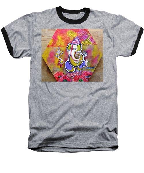 Lord Ganesha With Mantra Om Gam Ganapateye Namaha Baseball T-Shirt