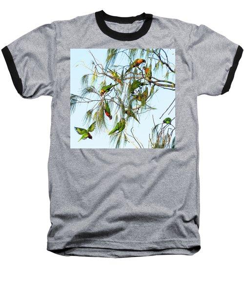 Lorikeets Swarming From Tree To Tree Baseball T-Shirt