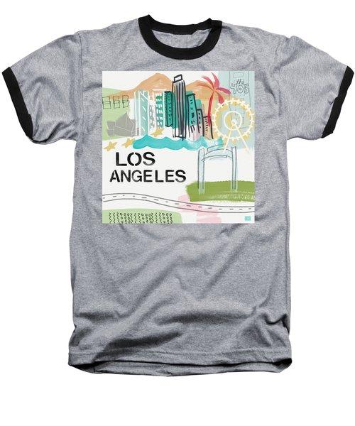 Los Angeles Cityscape- Art By Linda Woods Baseball T-Shirt