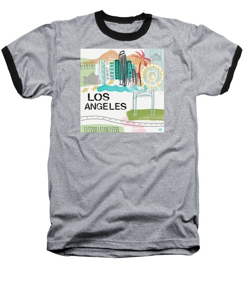 Los Angeles Cityscape- Art By Linda Woods Baseball T-Shirt
