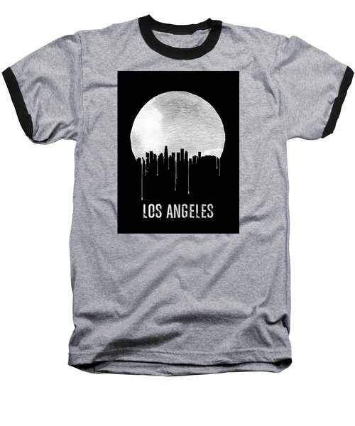 Los Angeles Skyline Black Baseball T-Shirt by Naxart Studio