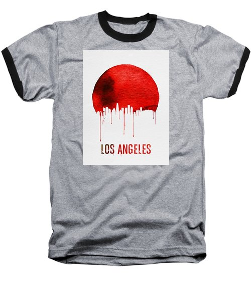 Los Angeles Skyline Red Baseball T-Shirt by Naxart Studio