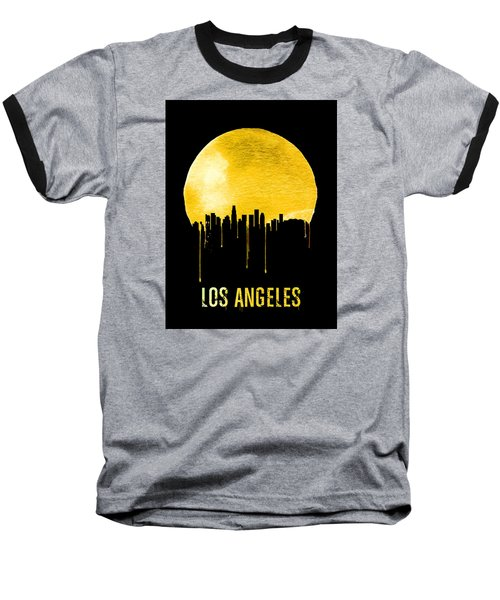 Los Angeles Skyline Yellow Baseball T-Shirt by Naxart Studio