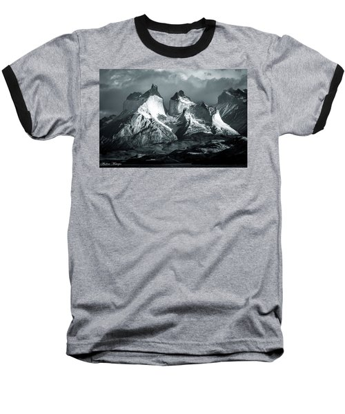 Baseball T-Shirt featuring the photograph Los Cuernos In Black And White by Andrew Matwijec