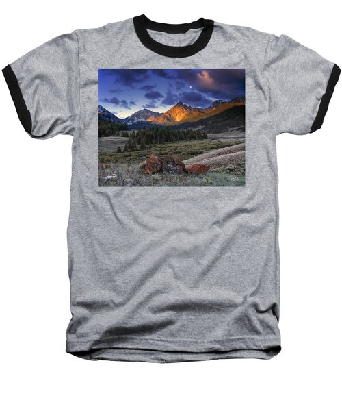 Baseball T-Shirt featuring the photograph Lost River Mountains Moon by Leland D Howard