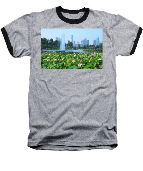 Lotus Blooms And Los Angeles Skyline Baseball T-Shirt