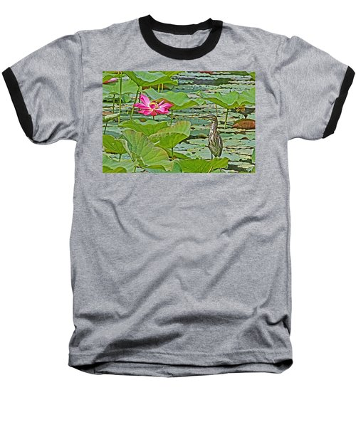 Lotus Blossom And Heron Baseball T-Shirt