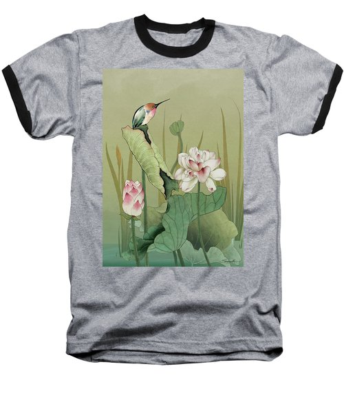 Lotus Flower And Hummingbird Baseball T-Shirt