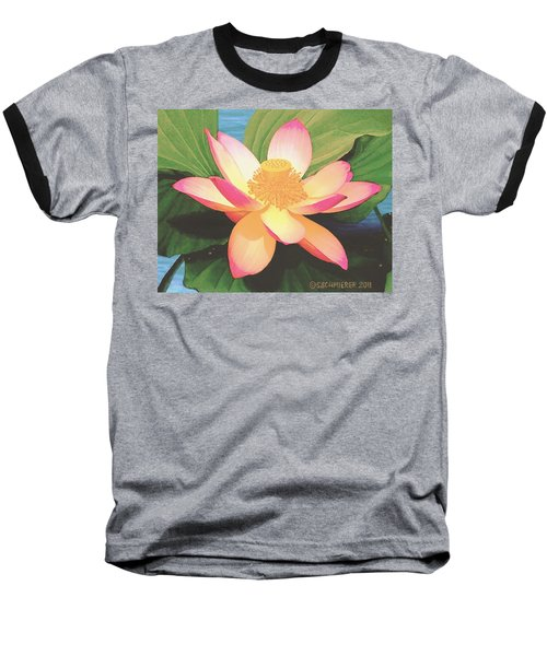 Baseball T-Shirt featuring the painting Lotus Flower by Sophia Schmierer