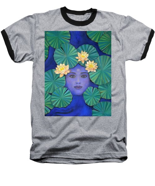 Baseball T-Shirt featuring the painting Lotus Nature by Sue Halstenberg