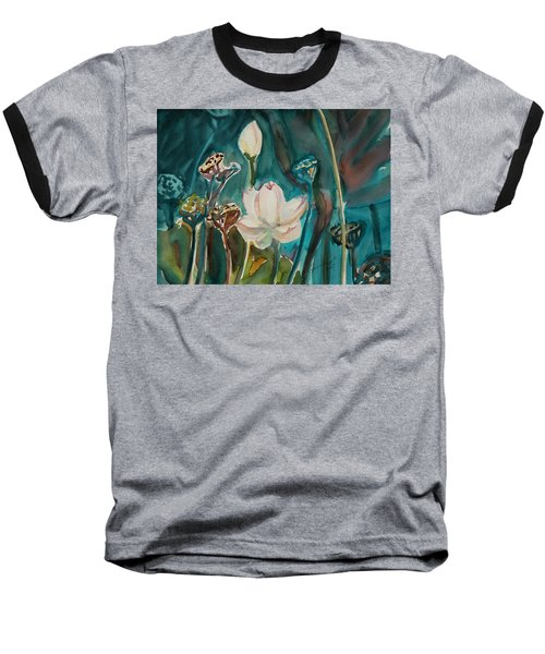Baseball T-Shirt featuring the painting Lotus Study I by Xueling Zou