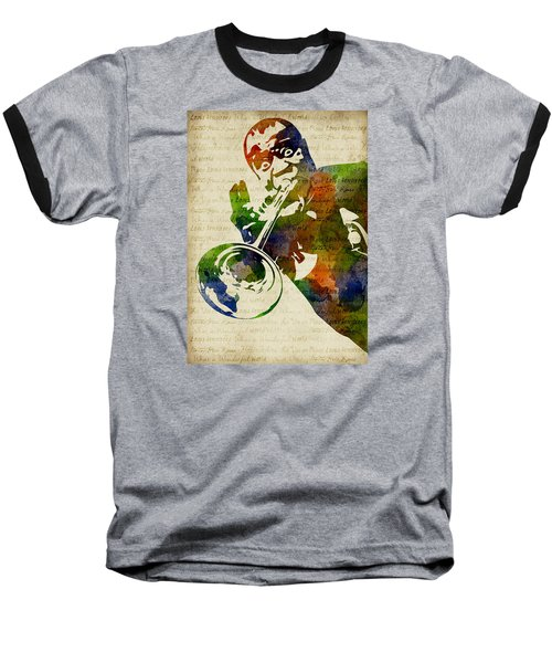 Louis Armstrong Watercolor Baseball T-Shirt by Mihaela Pater