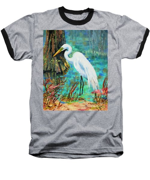 Baseball T-Shirt featuring the painting Louisiana Male Egret by Dianne Parks