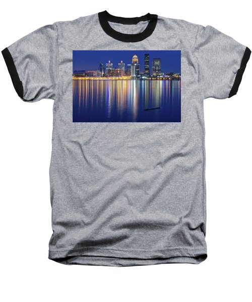 Louisville During Blue Hour Baseball T-Shirt by Frozen in Time Fine Art Photography