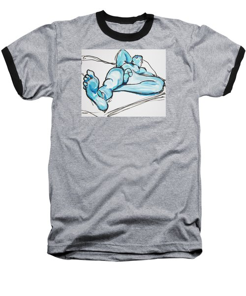 Baseball T-Shirt featuring the painting Lounging In Blue by Shungaboy X