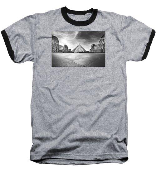 Louvre Bw Baseball T-Shirt by Ivan Vukelic