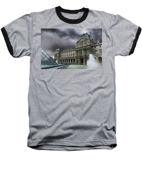 Baseball T-Shirt featuring the mixed media Louvre by Jim  Hatch