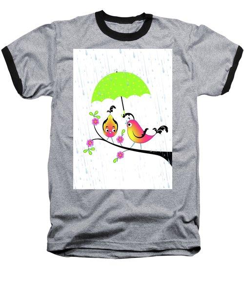 Love Birds In Rain Baseball T-Shirt