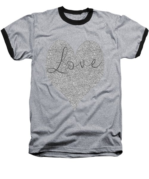 Love Heart Glitter Baseball T-Shirt by Clare Bambers