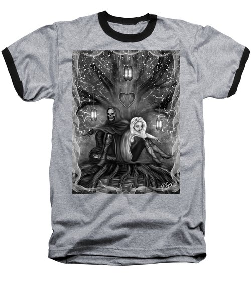 Baseball T-Shirt featuring the painting Love Is Complicated - Black And White Fantasy Art by Raphael Lopez