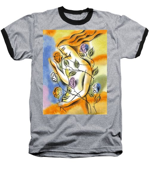 Baseball T-Shirt featuring the painting Love, Roses And Thorns by Leon Zernitsky
