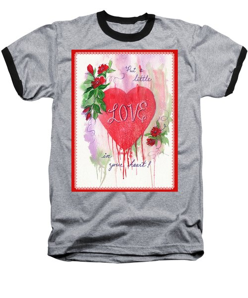 Baseball T-Shirt featuring the painting Love Valentine by Marilyn Smith