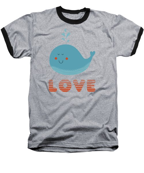 Baseball T-Shirt featuring the photograph Love Whale Cute Animals by Edward Fielding