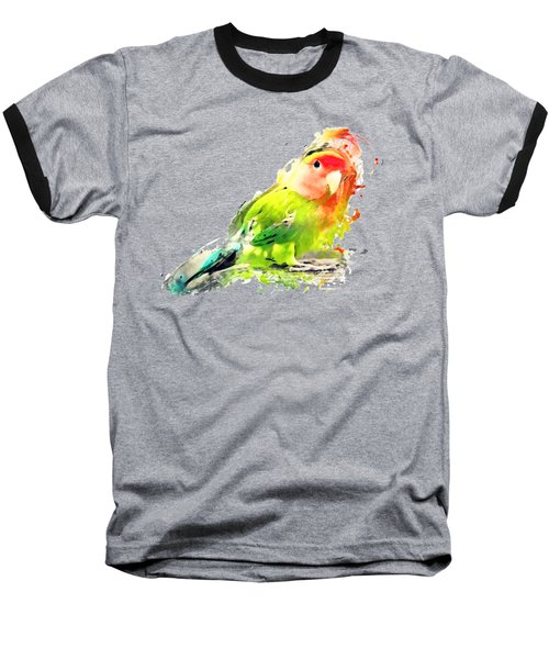 Lovebird Watercolor Painting Baseball T-Shirt by Justyna JBJart