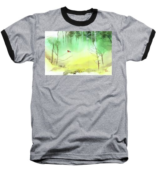 Baseball T-Shirt featuring the painting Lovebirds 3 by Anil Nene