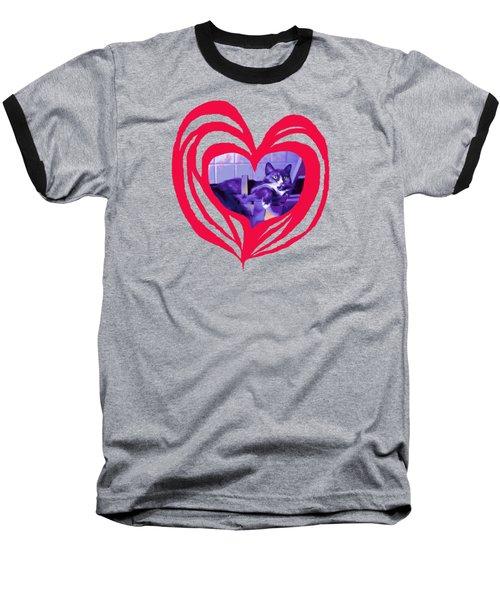 Loveheart Kitty Baseball T-Shirt by Mary Armstrong