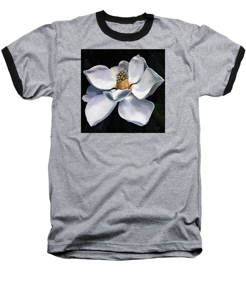 Baseball T-Shirt featuring the painting Lovely In White - Painting Magnolia Flower  by Linda Apple