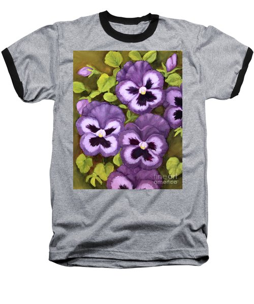 Lovely Purple Pansy Faces Baseball T-Shirt