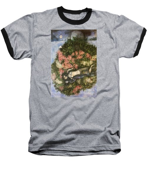 Lovers In The Lilacs Baseball T-Shirt by Marc Chagall