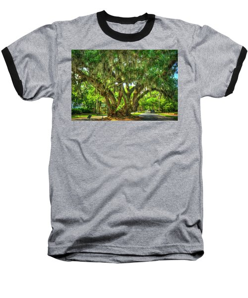 Lovers Oak Live Oak Tree Brunswick Georgia Art Baseball T-Shirt