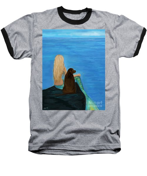 Baseball T-Shirt featuring the painting Loving Lab Loyalty by Leslie Allen