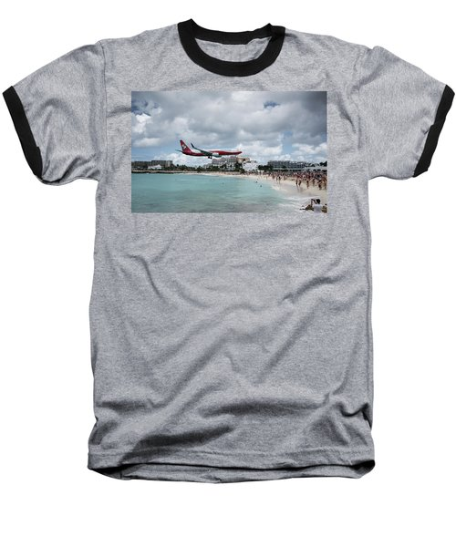 Low Landing At Sonesta Maho Beach Baseball T-Shirt