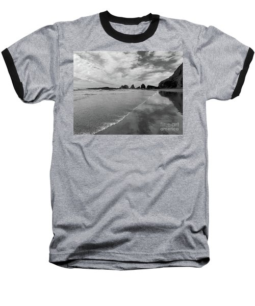 Low Tide - Black And White Baseball T-Shirt by Scott Cameron