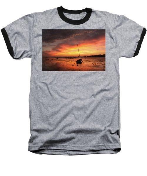 Low Tide Sunset Sailboats Baseball T-Shirt