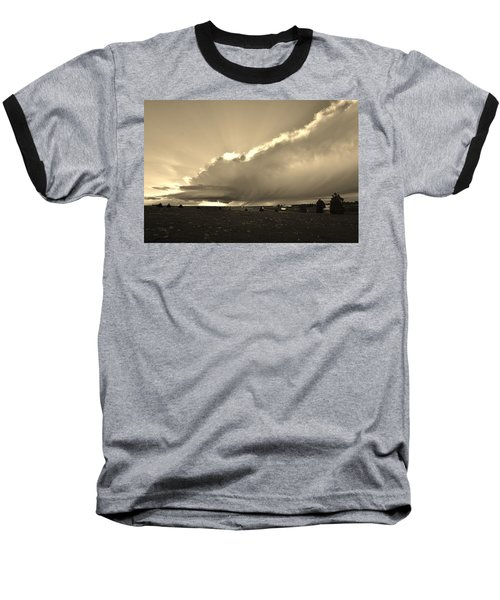 Low-topped Supercell Black And White  Baseball T-Shirt by Ed Sweeney