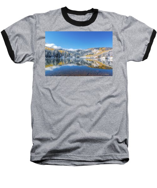 Lower Cataract Lake Fall Snow Scene Baseball T-Shirt