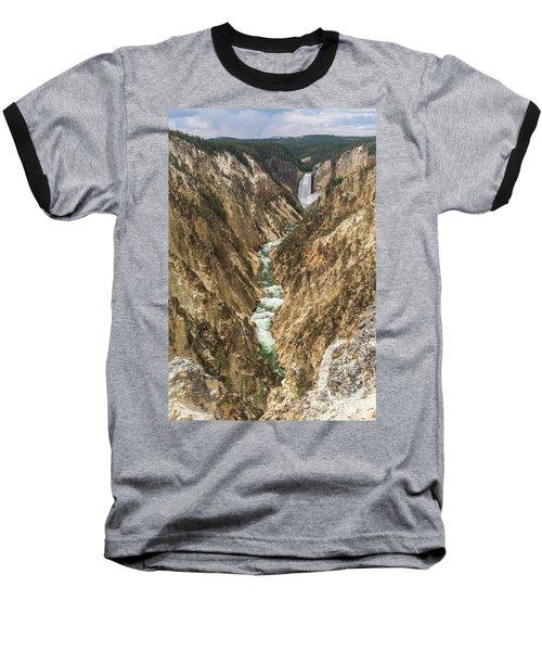 Lower Falls Of The Yellowstone - Portrait Baseball T-Shirt