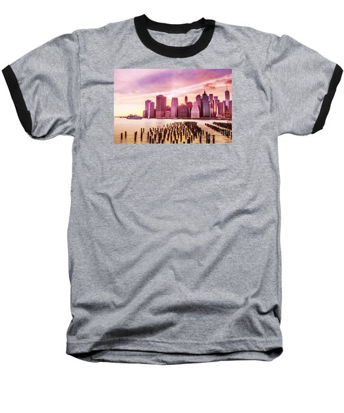 Lower Manhattan And Ferry Baseball T-Shirt by Rima Biswas
