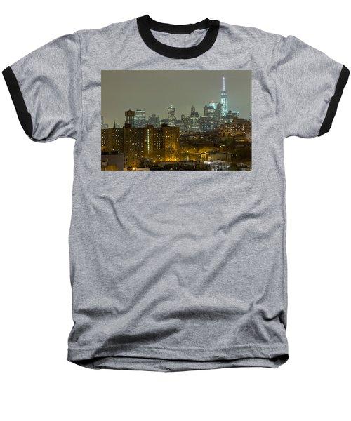 Lower Manhattan Cityscape Seen From Brooklyn Baseball T-Shirt