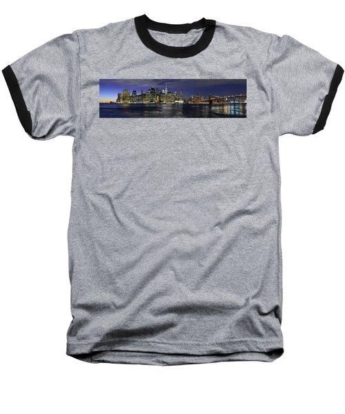 Lower Manhattan From Brooklyn Heights At Dusk - New York City Baseball T-Shirt