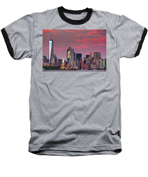 Baseball T-Shirt featuring the photograph Lower Manhattan In Pink by Emmanuel Panagiotakis