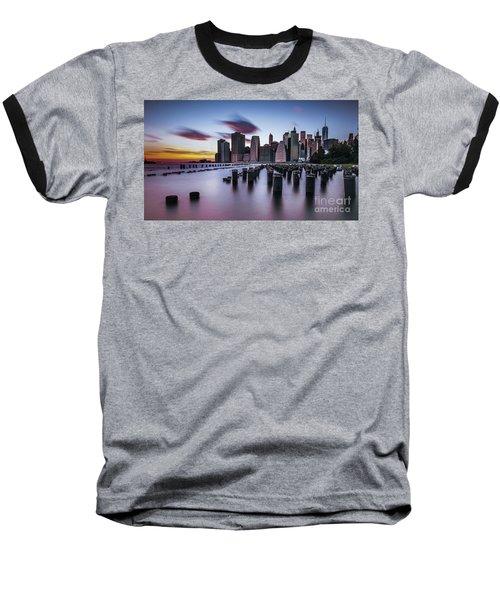 Lower Manhattan Purple Sunset Baseball T-Shirt