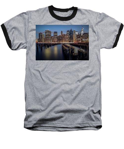 Lower Manhattan Skyline Baseball T-Shirt by Eduard Moldoveanu