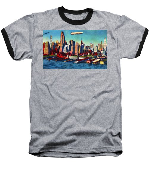 Lower Manhattan Skyline New York City Baseball T-Shirt