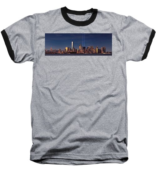 Baseball T-Shirt featuring the photograph Lower Manhattantribute In Light by Emmanuel Panagiotakis
