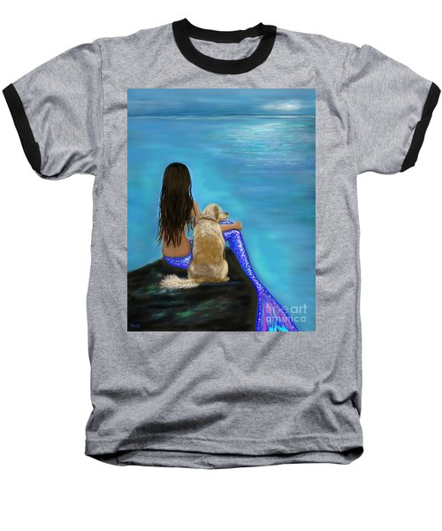 Baseball T-Shirt featuring the painting Loyal Loving Buddy by Leslie Allen